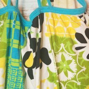 Roxy Tops - Roxy Tank top Blue Green Yellow Floral Size XL